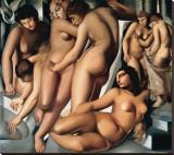 Femmes au Bain Stretched Canvas Print by Tamara De Lempicka