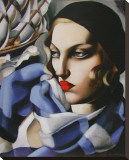 Echarpe Bleue Stretched Canvas Print by Tamara De Lempicka