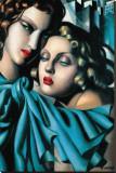 Les Jeunes Filles Stretched Canvas Print by Tamara De Lempicka