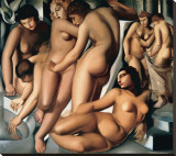 Femmes au Bain Stretched Canvas Print by Tamara de Lempicka