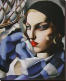 Echarpe Bleue Stretched Canvas Print by Tamara de Lempicka