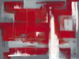 Rött abstrakt Affischer av Leigh Banks