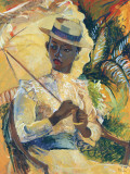 Boater Hat with Parasol Art by Boscoe Holder