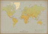 Vintage World Map Prints by Unknown Unknown
