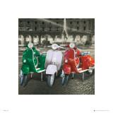Vespas Italian Flag Affiche