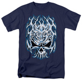 Flaming Chrome Skull T-shirts