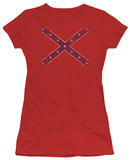 Juniors: Distressed Rebel Flag T-Shirt
