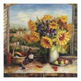 Sunflowers With Fruit And Wine II Affiche