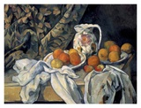 Still Life with a Curtain and Pitcher Print by Paul Cézanne