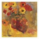 Poppies In Jugs Prints by Lorrie Lane