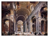 Interior of St. Peter's, Rome Posters par Giovanni Paolo Pannini