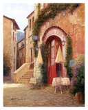 Eze Village Cafe France Print by Haixia Liu