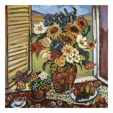 Sunflowers At Window Plakater af Suzanne Etienne