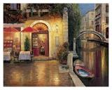 Night Cafe After Rain Prints by Haixia Liu