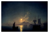 The Bay of Naples by Moonlight, 1842 Posters by Ivan Konstantinovich Aivazovsky