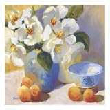Magnolias and Peaches Print by Jennifer Hurley