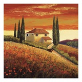 Sunset Over Tuscany II Posters by Santo De Vita