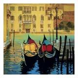 Zwei Boote in Venedig Poster von Steve Thoms