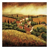Tuscan Hillside Village Prints by Santo De Vita