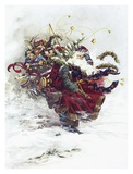 Windswept Santa Prints by Peggy Abrams