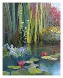 Lilies Adorning The Pond Poster di Kent Wallis