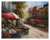 Han Chang - Flower Market Cafe - Art Print
