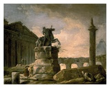 Architectural Landscape with Obelisk Affiches par Hubert Robert