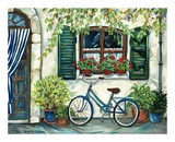 Country Cottage with Blue Bicycle Prints by Suzanne Etienne