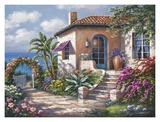 Coastal Cottage View Poster van Sung Kim
