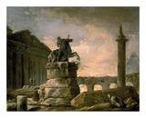 Architectural Landscape with Obelisk Poster par Hubert Robert