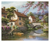 Country Village Canal Art by Sung Kim