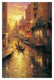 Gondola in Sunset, Venice Poster by Haixia Liu