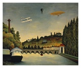 View of the Bridge at Sevres and the Hills at Clam Posters by Claude Rousseau