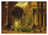 Vue Imaginaire de la Grande Galerie en Ruins Affiches par Hubert Robert