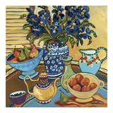 Blue and White with Oranges Prints by Suzanne Etienne