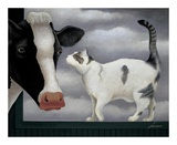 Cow and Cat Poster by Lowell Herrero