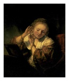 Young Woman Trying Earrings, 1654 Posters by  Rembrandt van Rijn
