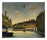 View of the Bridge at Sevres and the Hills at Clam Prints by Henri Rousseau
