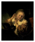 Young Woman Trying Earrings, 1654 Prints by  Rembrandt van Rijn
