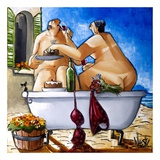 Couple Bathing Poster van Ronald West