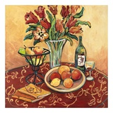 Red Flower on Still Life Print by Suzanne Etienne