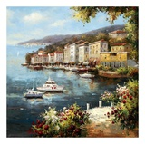 Mediterranean Yacht Harbor Art by Peter Bell