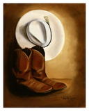 His Boots and Hat Prints by Judith Durr