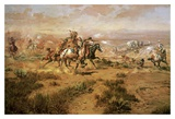 The Attack On The Wagon Train Print by Charles Marion Russell