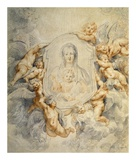 Image of the Virgin Portrayed with Angels Poster by Peter Paul Rubens