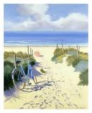 Velo Bleu Parasol Rouge Art by Henri Deuil