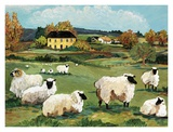 Lambs on Green Hill Print by Suzanne Etienne