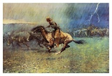 The Stampede Print by Frederic Remington