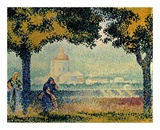 The Church of Santa Maria degli Angely near Assisi Poster por Henri Edmond Cross
