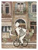 Betty Whiteaker - Chef on Bike - Art Print